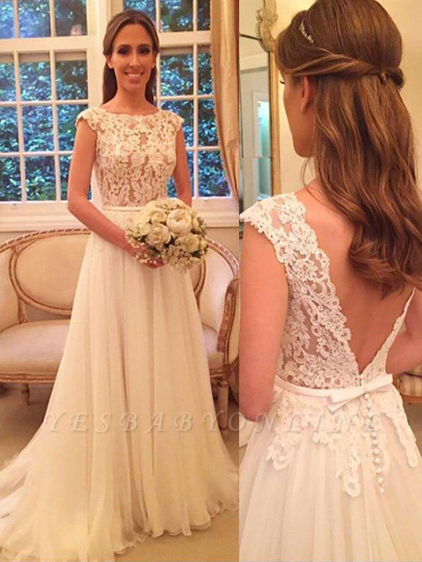 Breathtaking Scoop Sleeveless Sweep Train Chiffon Wedding Dresses