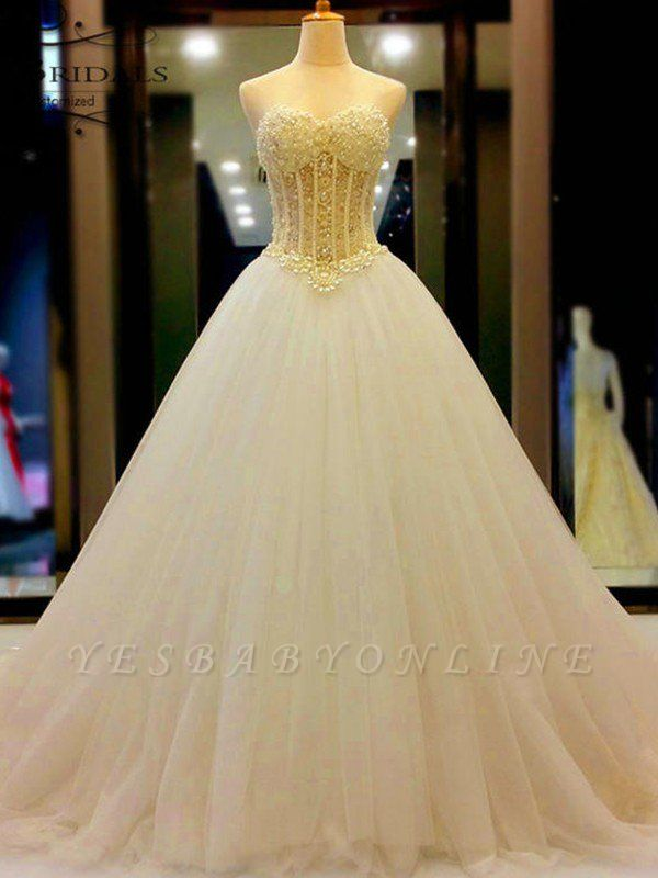 Sweetheart Court Train Tulle Puffy Sleeveless Beaded Wedding Dresses