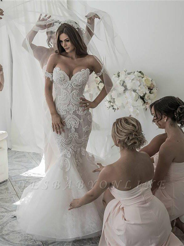 Off-the-Shoulder Tulle Chapel Train Sleeveless Sexy Mermaid Wedding Dresses