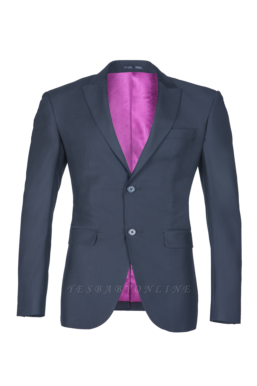 Custom Made Single Breasted Peak Lapel Dark Navy Best Men Groomsmen