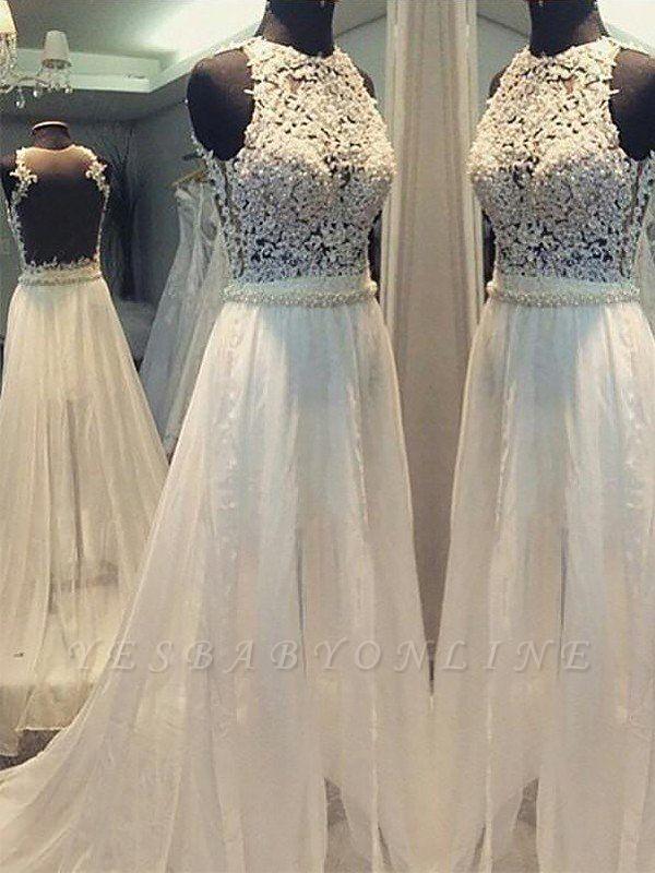 Breathtaking Sweep Train Scoop Sleeveless Chiffon Wedding Dresses