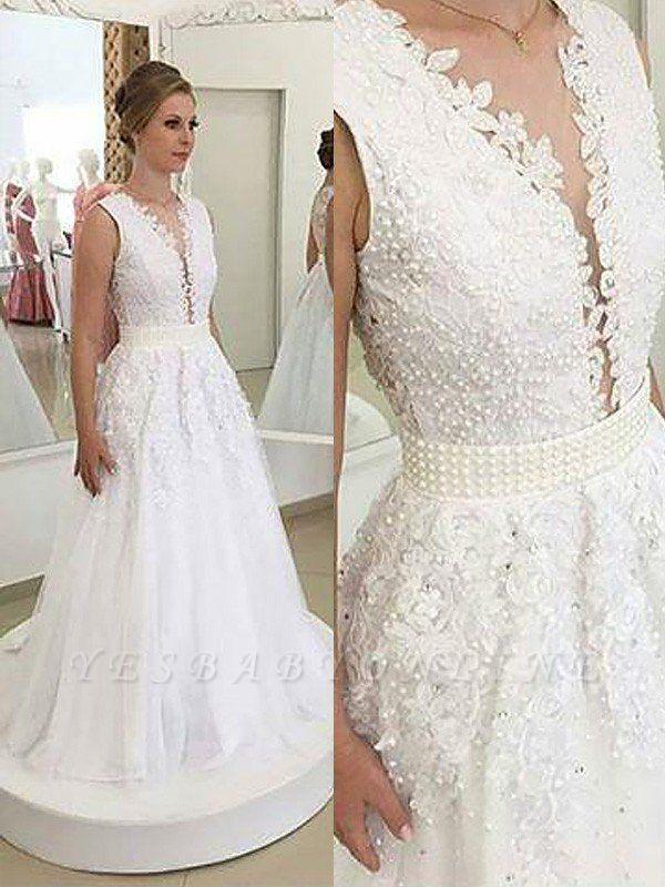 Elegant Sleeveless Sweep Train Tulle V-neck Applique Wedding Dresses