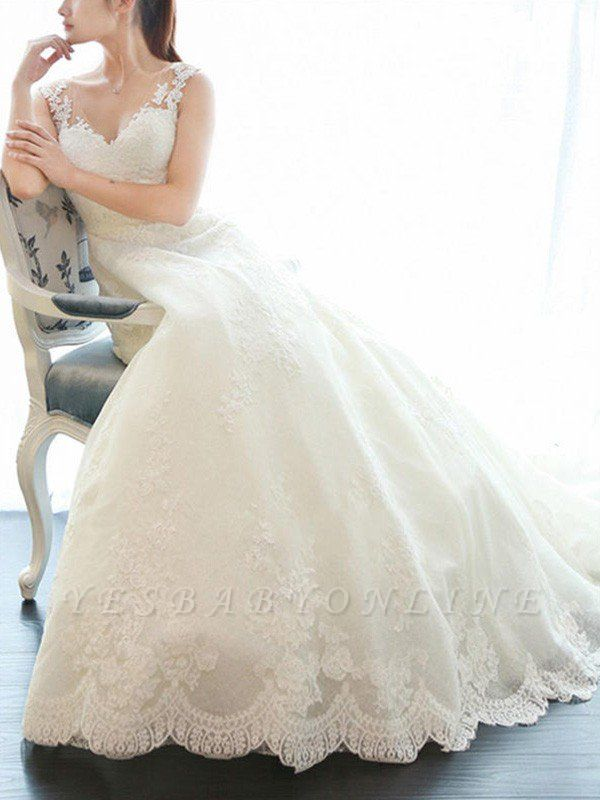 Alluring Court Train V-neck Applique Sleeveless Lace Wedding Dresses