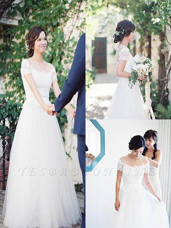 Short Sleeves Sweep Train Tulle Bateau Romantic Wedding Dresses