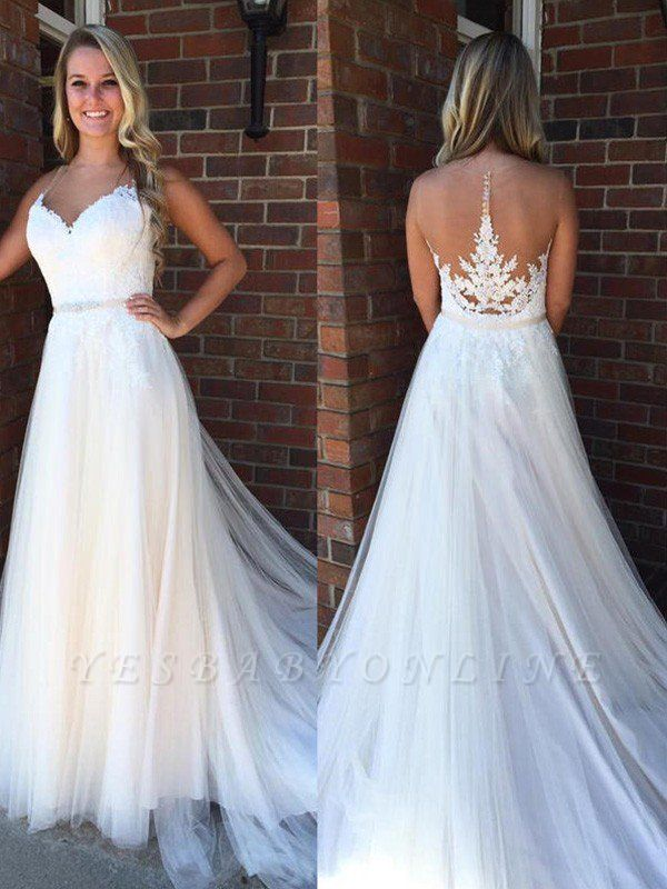 Glamorous Applique Court Train Sleeveless Tulle Scoop Wedding Dresses
