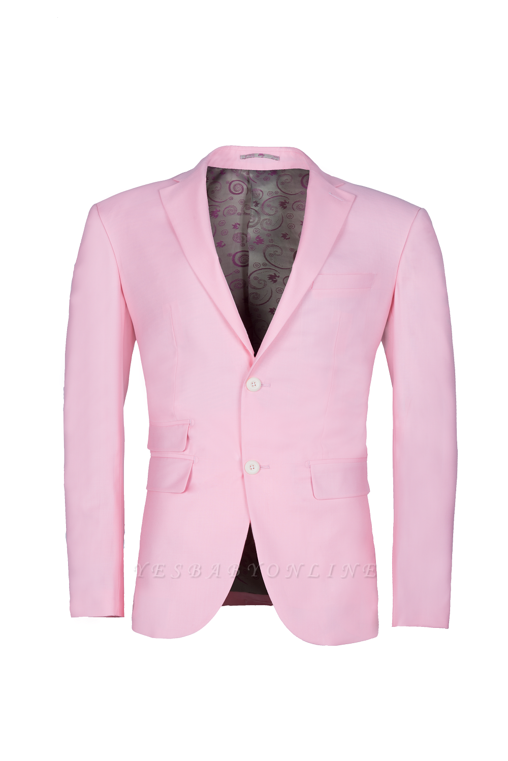 Peak Lapel Candy Pink Single Breasted Wedding Suit For Men