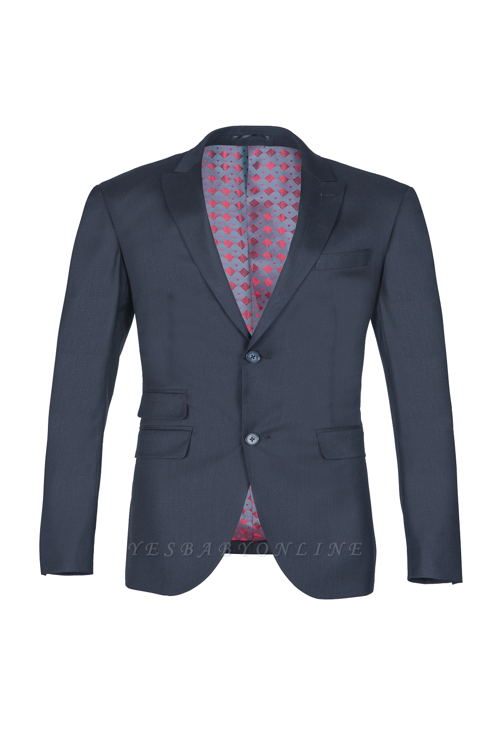Breasted Black Peak Lapel Two Button Single Slim Fit Classic Suit