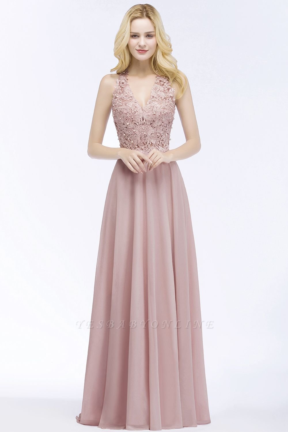 A-line  Appliques V-neck Sleeveless Floor-Length Bridesmaid Dresses with Pearls