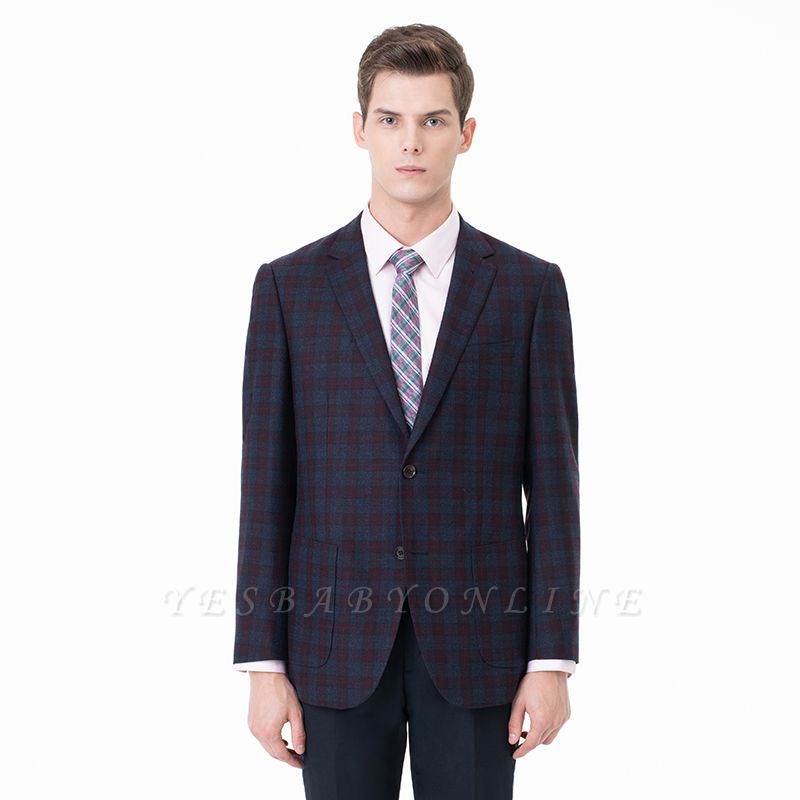 Lattice Peak Lapel Two Pieces with Pants Single Breasted Wedding Suits