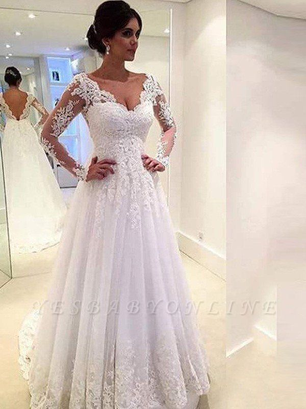 V-neck Puffy Tulle Long Sleeves Court Train Lace Wedding Dresses