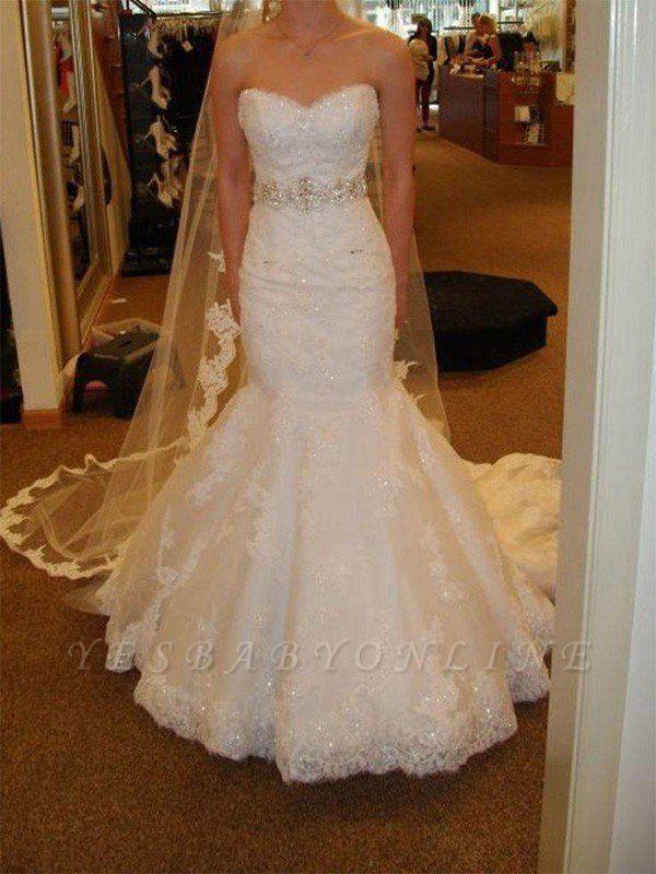 Dazzling Lace Tulle Sexy Mermaid Sleeveless Court Train Sweetheart Ribbon Wedding Dresses