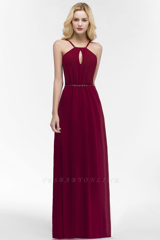 Simple A-Line  Spaghetti Straps Sleeveless Floor-Length Bridesmaid Dresses with Beading Sash