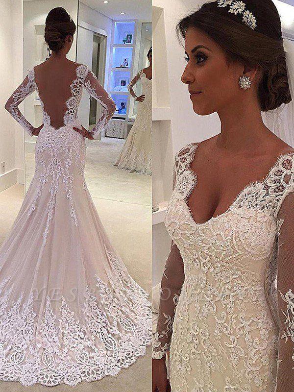 Court Train  Long Sleeves Sexy Mermaid V-neck Lace Wedding Dresses