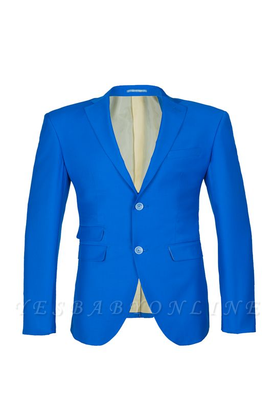 Ocean Blue Casual Suit Peak Lapel Single Breasted Bridegroom