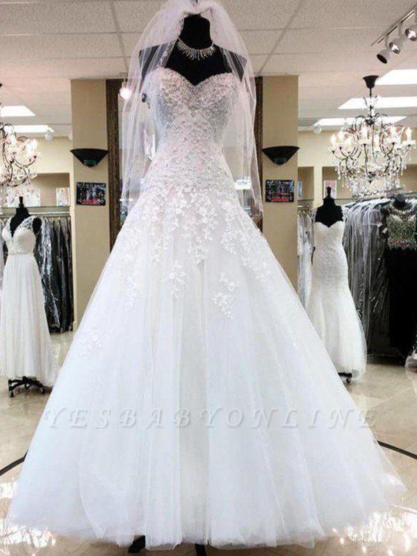 Charming Floor-Length Puffy Sweetheart Sleeveless Tulle Applique Wedding Dresses