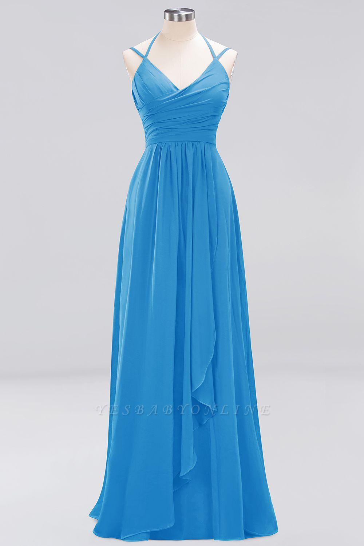 A-line  Spaghetti Straps Sleeveless Ruffles Floor-Length Bridesmaid Dresses