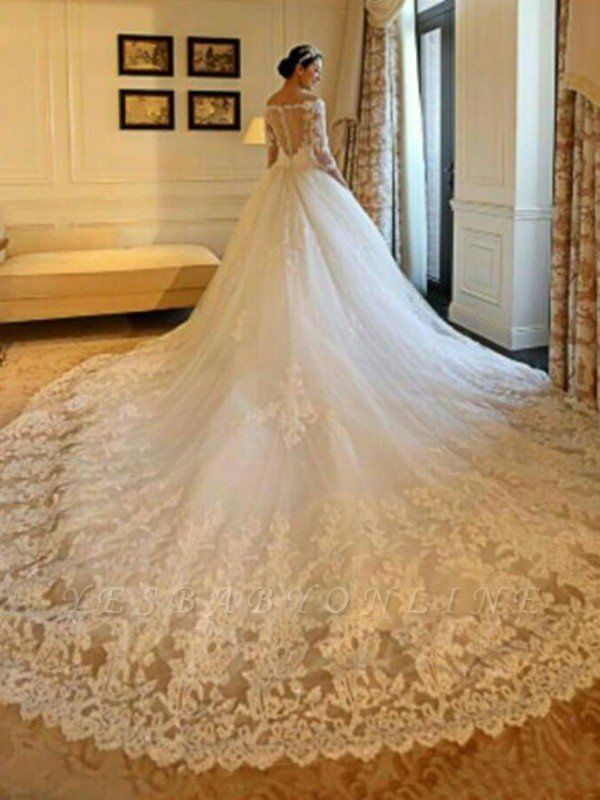 Tulle Cathedral Train Off-the-Shoulder Puffy 3/4 Sleeves Beads Applique Wedding Dresses