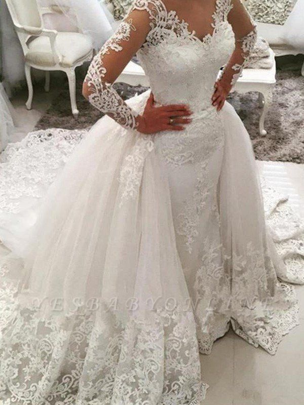 Dazzling Long Sleeves Cathedral Train V-neck Puffy Applique Lace Tulle Wedding Dresses