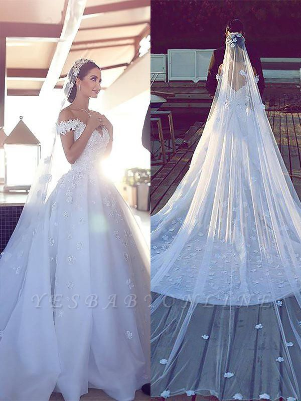 Dramatic Chiffon V-neck Chapel Train Puffy Sleeveless Satin Wedding Dresses