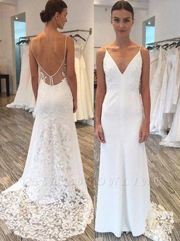 Charming Spaghetti Straps Sweep Train Satin Sleeveless Sheath Lace Wedding Dresses