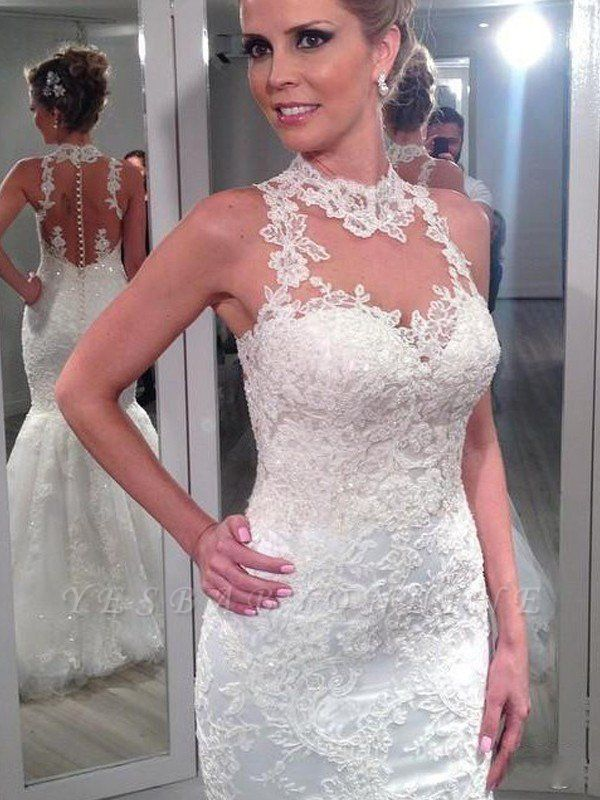 Sleeveless Lace Tulle Sexy Mermaid Wedding Dresses | Floor-Length High Neck Bridal Gowns