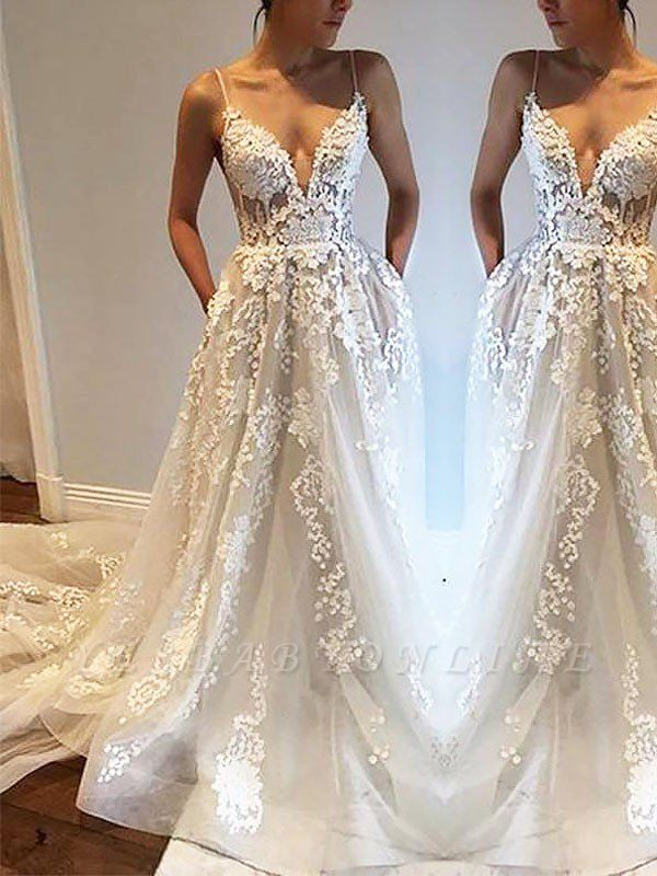 Irresistible Tulle Sleeveless Court Train Spaghetti Straps Wedding Dresses