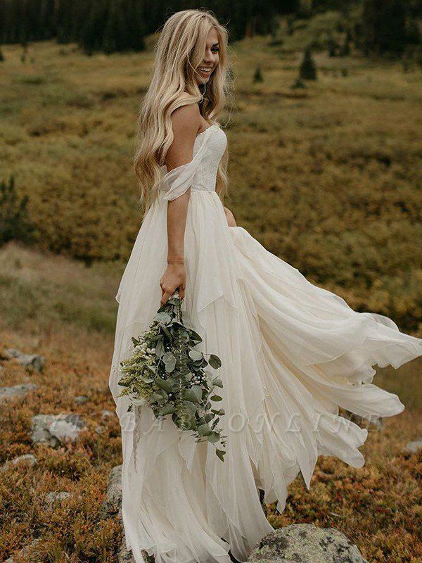 Off-the-Shoulder Floor-Length Sleeveless Chiffon Ruched Wedding Dresses