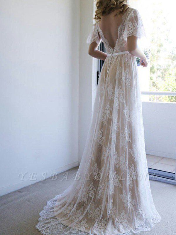 V-neck Sweep Train Short Sleeves Lace Wedding Dresses with Ribbon