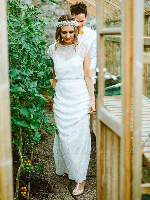 Glamorous Short Sleeves Scoop Floor-Length Column Ruffles Chiffon Wedding Dresses