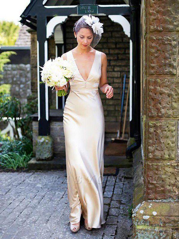 Classic Sleeveless Sweep Train Column V-neck Satin Wedding Dresses