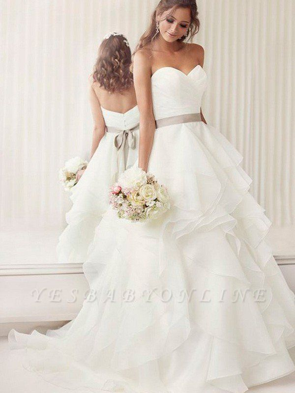Alluring Organza Ruffles Ribbon Wedding Dresses |Sleeveless Chapel Train Sweetheart Bridal Gowns
