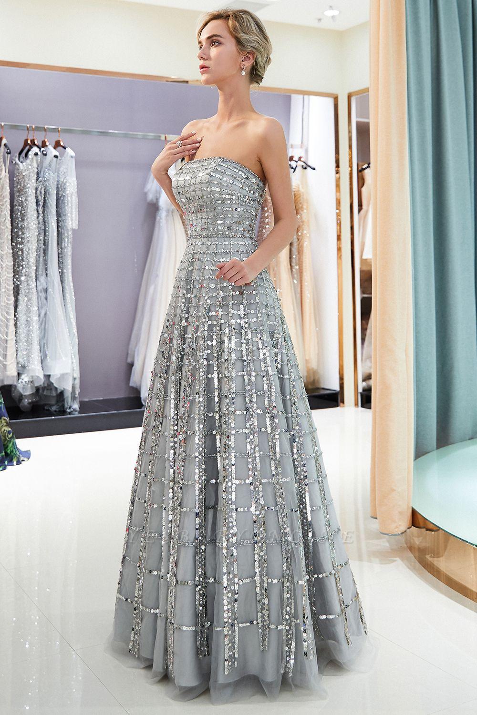 Elegant A-Line Sequins Strapless Floor Length Prom Dress   Evening Dresses