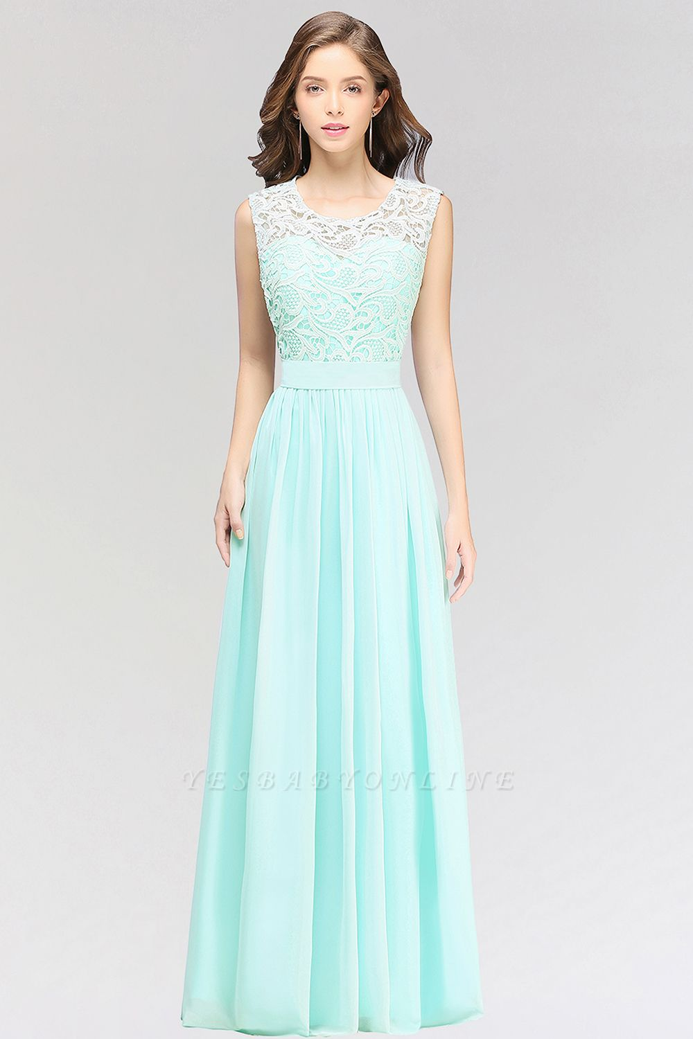 A-line  Lace Jewel Sleeveless Floor-Length Bridesmaid Dress with Ruffles