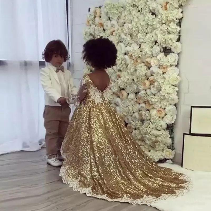 Gold Sequins Girl Applique Round Neck Court Train Pageant Dress
