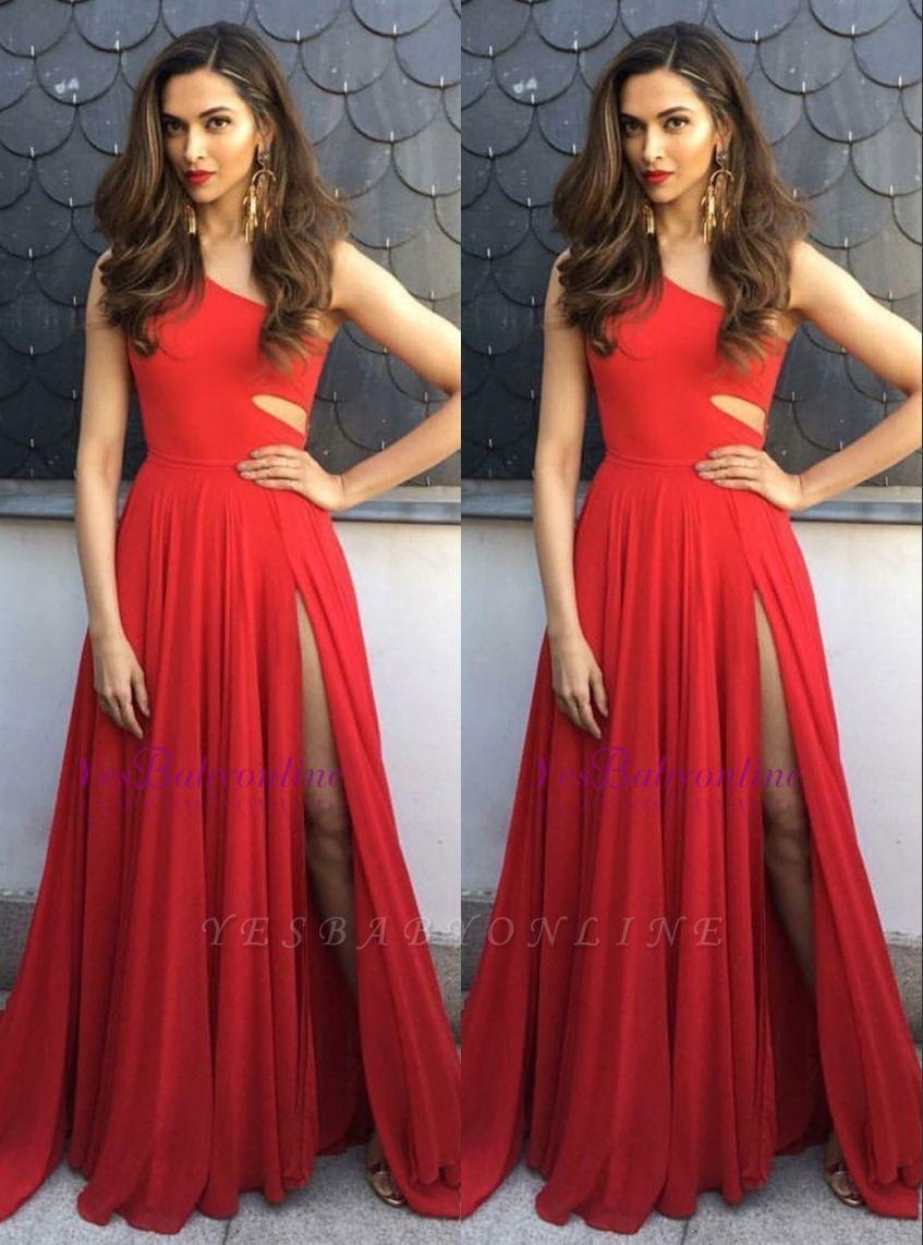 Elegant One-Shoulder Sleeveless A-Line Side-Slit Prom Dresses