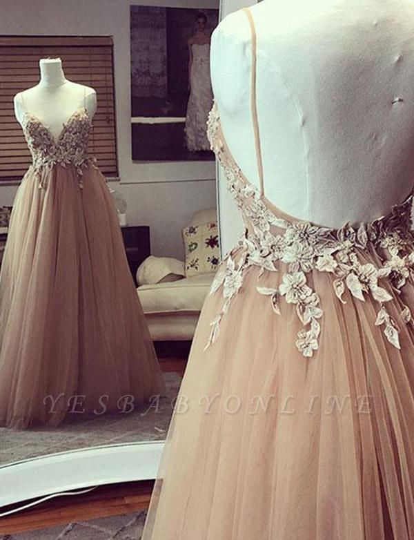 Fashion  Champagne Spaghetti Straps A-Line Applique Prom Dress