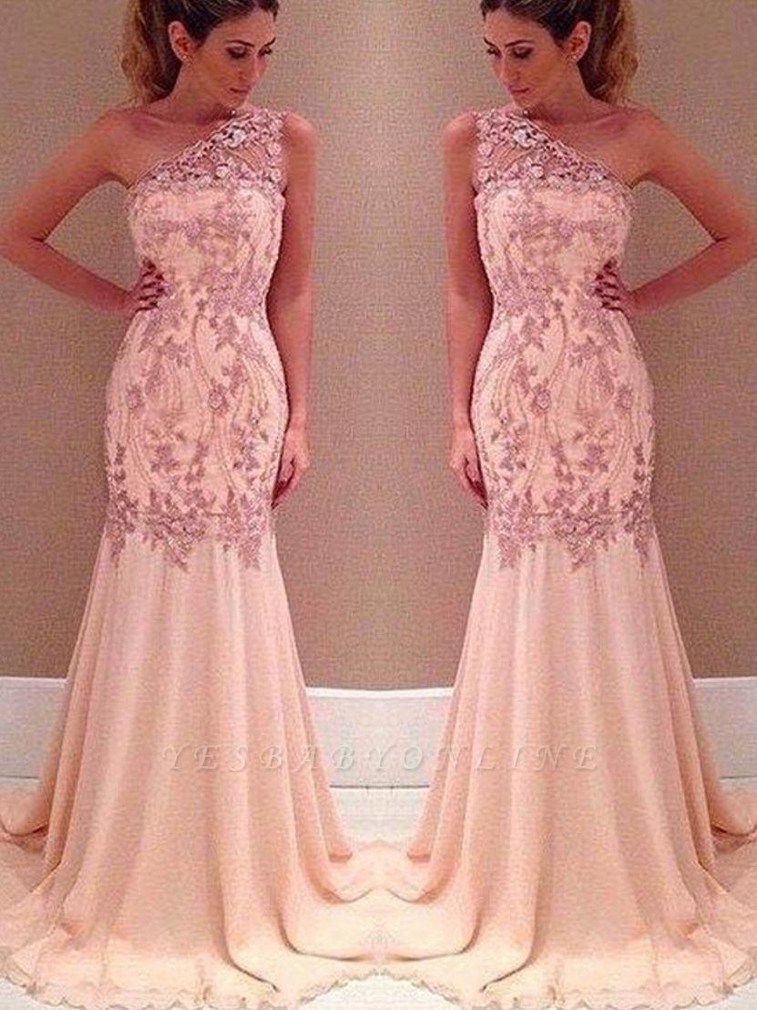 Mermaid Applique Long Sexy Pink One-Shoulder Chiffon Evening Dresses