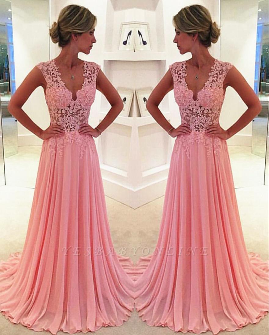 Pink  Prom Dresses 2019 Sheer Lace Applique Top V Neck Long Elegant Evening Gowns