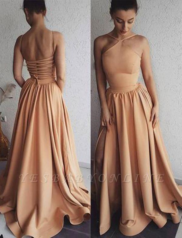 Glamorous A-Line Spaghetti Straps Long Prom Sweep Train Evening Dress