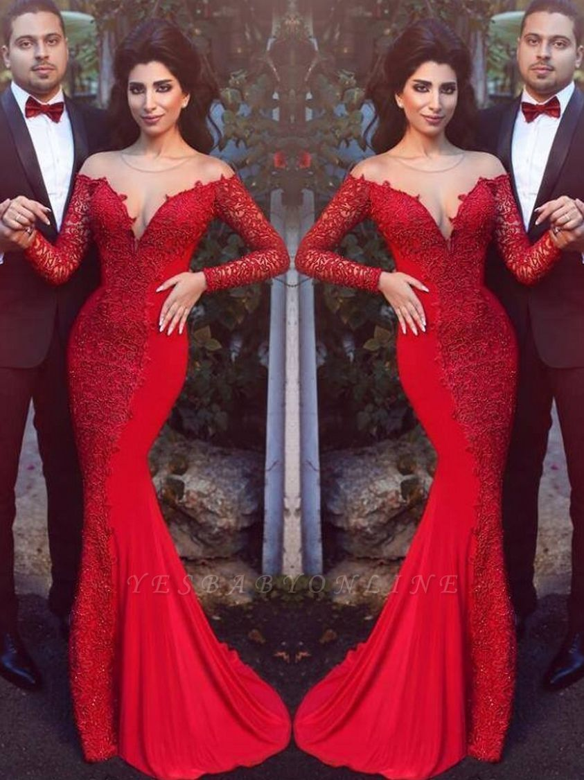 2019 Red Mermaid Prom Dresses Long Sleeves Lace Formal Evening Gowns