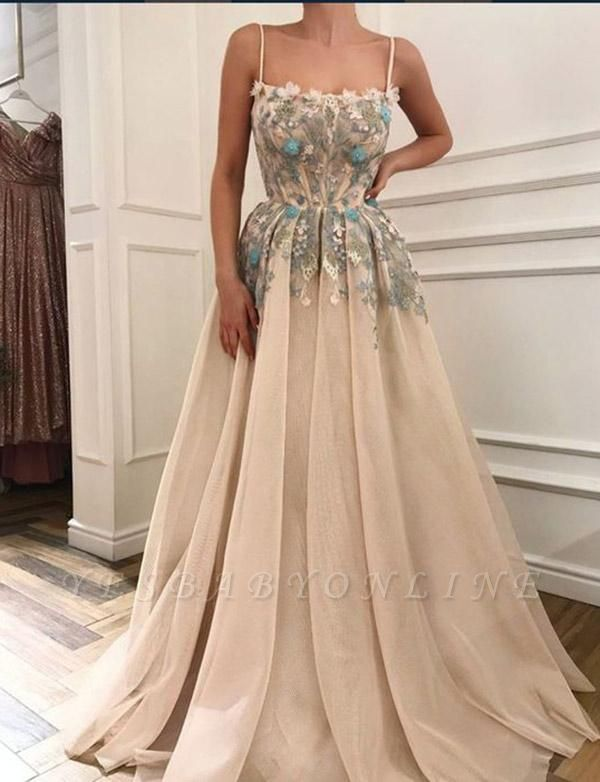 Glamorous Spaghetti Straps A-Line Appliques Long Prom Evening Dress