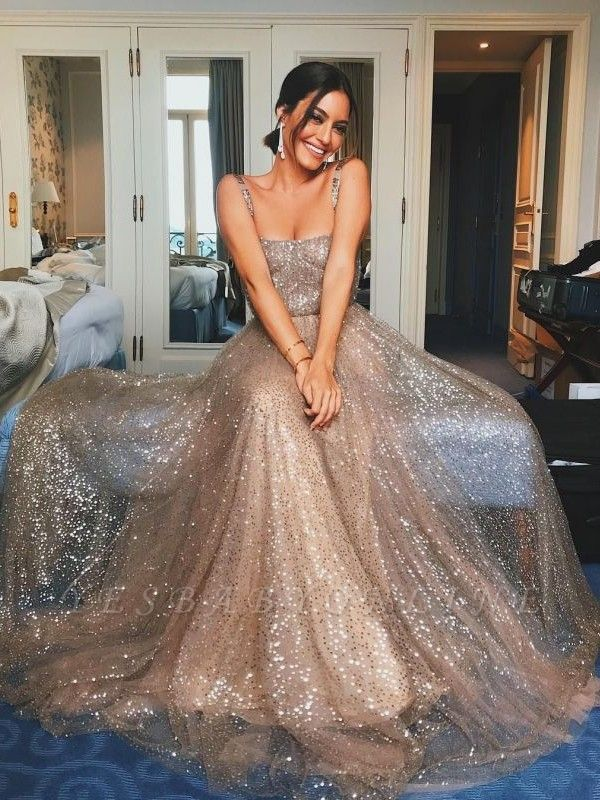 Shiny A-Line Champagne Sequin Straps Sleeveless Prom Dresses | Party Dresses
