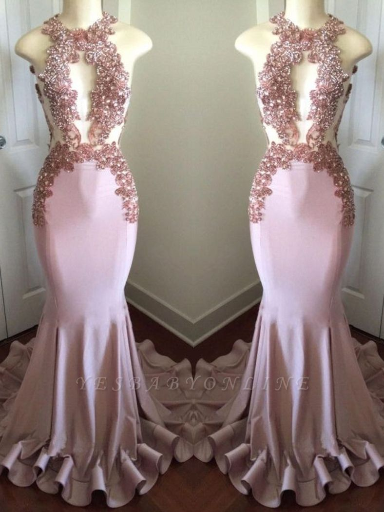Sparkly Long Mermaid Prom Dresses   Sleeveless Keyhole Neck Evening Gowns