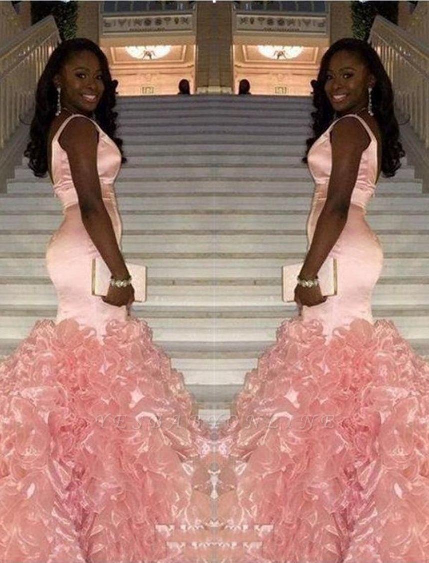 V-neck Ruffles Pink Glamorous Sleeveless Mermaid Prom Dress