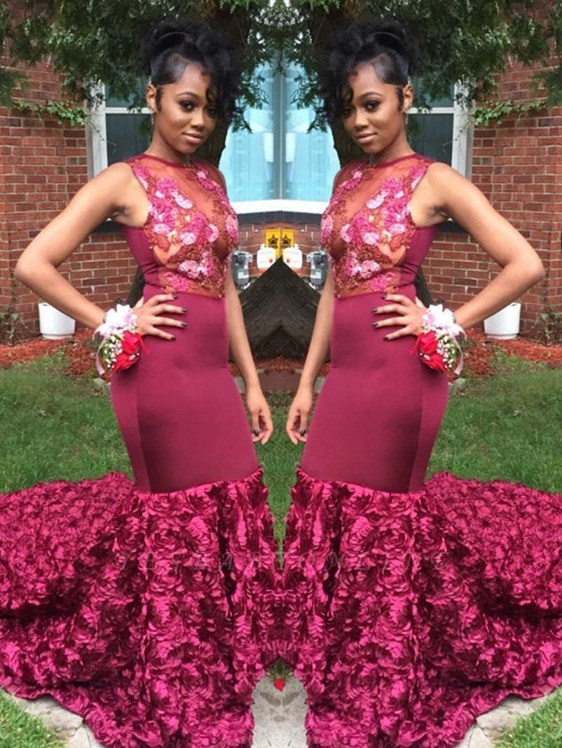 Amazing Burgundy Mermaid Prom Dresses with Rose Flowers Skrit