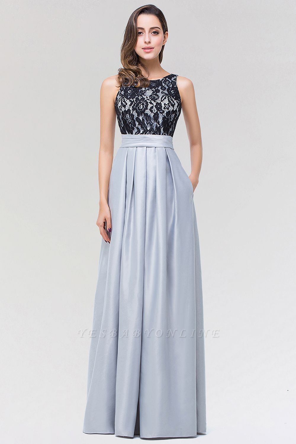 A-line Satin Lace Jewel Sleeveless Floor-length Bridesmaid Dresses with Ruffles