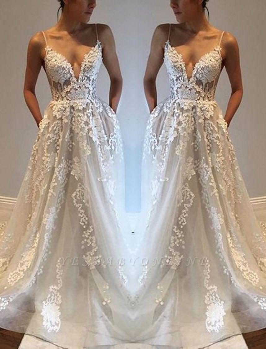 Glamorous A-line Spaghetti Straps Lace Appliques V-Neck Pockets Wedding Dresses