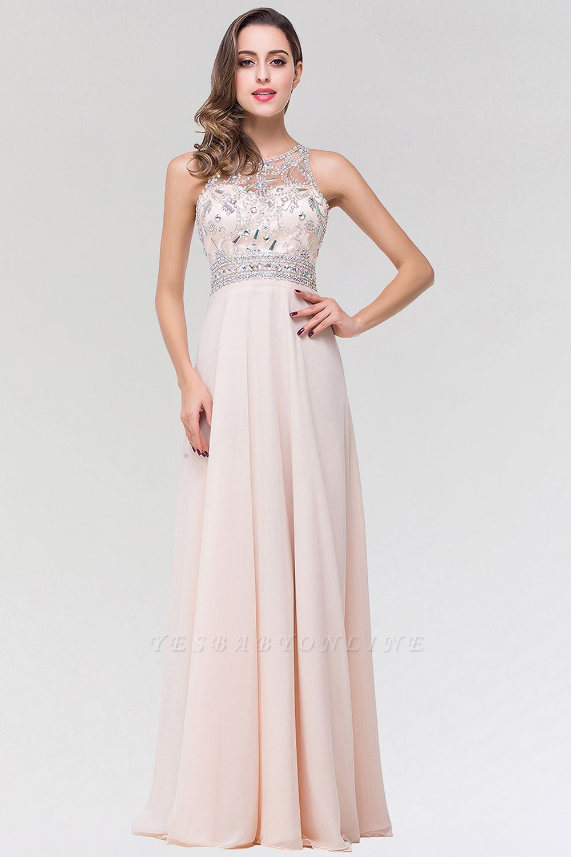 Elegant A-Line   Scoop Sleeveless Floor-Length Bridesmaid Dress with Beadings