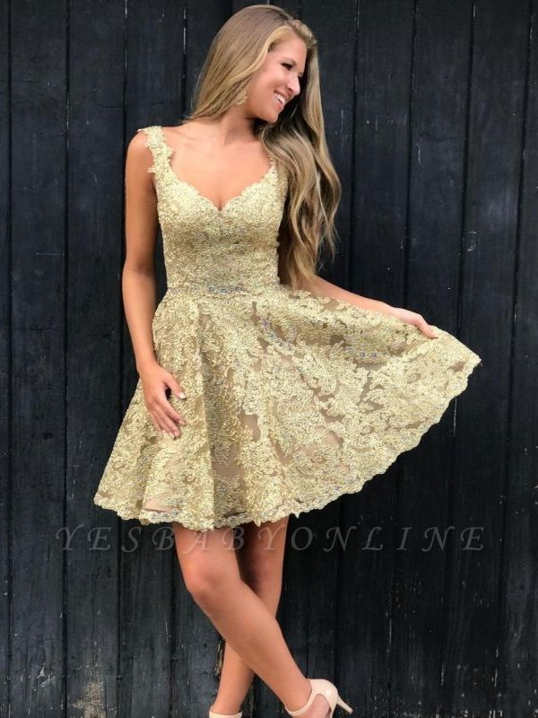 Elegant Lace Gold Homecoming Dresses | Sleeveless A-Line Cocktail Dresses BC2252