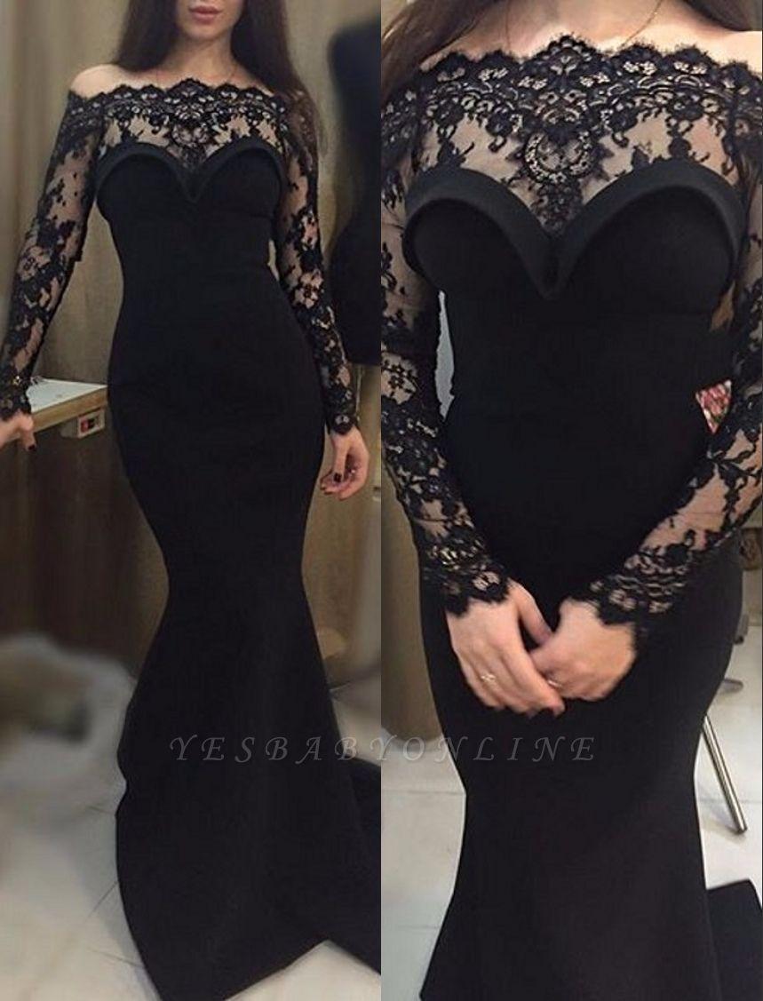 Mermaid Long Black Off-The-shoulder Sheath Prom Dress
